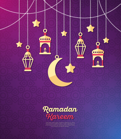 Ramadan Kareem concept banner with arabic decorations on dark violet background. Vector illustration. Eid Mubarak. Traditional Lanterns, Crescent and stars, Garlands with beads