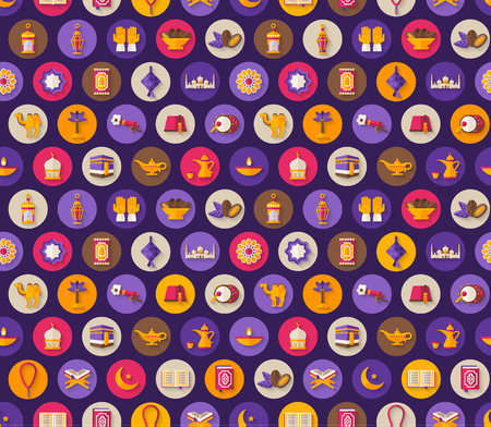 scrap book: Seamless pattern with arabic flat icons in circles