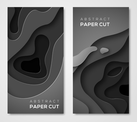 Vertical banners with 3D abstract background, black paper cut shapes. Vector design layout for business presentations, flyers, posters and invitations. Dark carving art