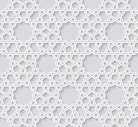 별과 아라베스크 원활한 패턴입니다. 밝은 배경에 전통적인 girih 타일입니다. 벡터 일러스트 레이 션.