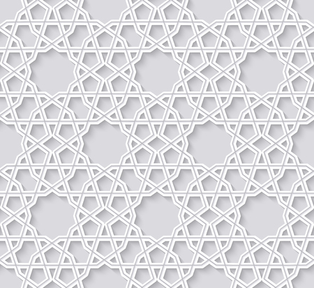Arabesque seamless pattern with stars. Traditional girih tiles on bright background. Vector Illustration. Ilustração