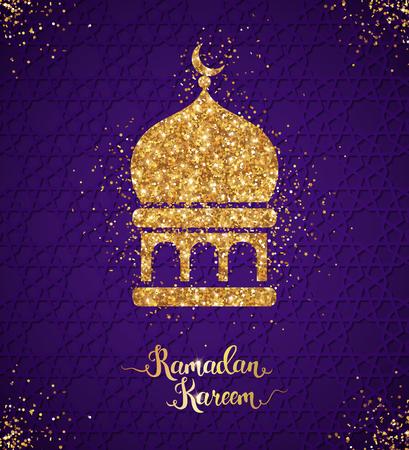 Ramadan Kareem greeting card with arabian mosque Ilustrace