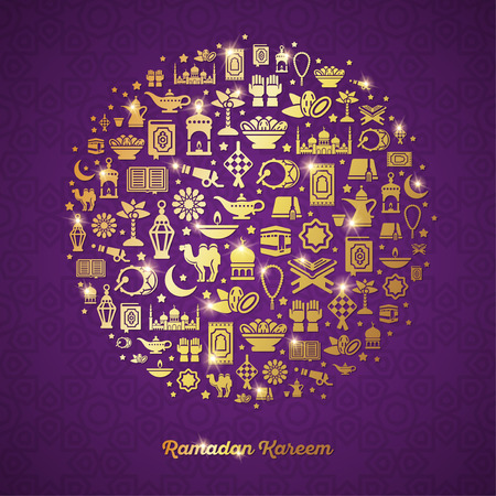 Ramadan Kareem concept with gold icons in circle