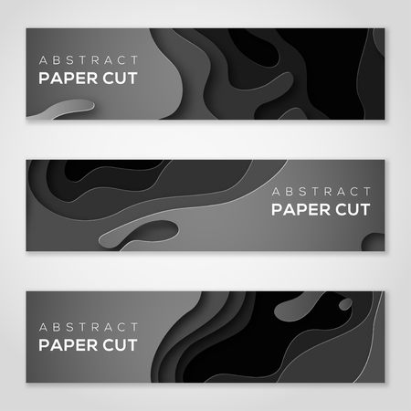 Horizontal banners with black paper cut shapes. 向量圖像