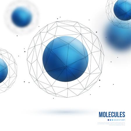 青い粒子と抽象的な分子構造