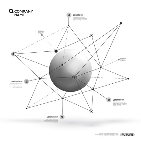 sphere particle and polygonal shapes Illustration