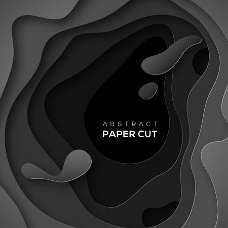3D abstracte achtergrond met zwarte papier gesneden vorm Stock Illustratie