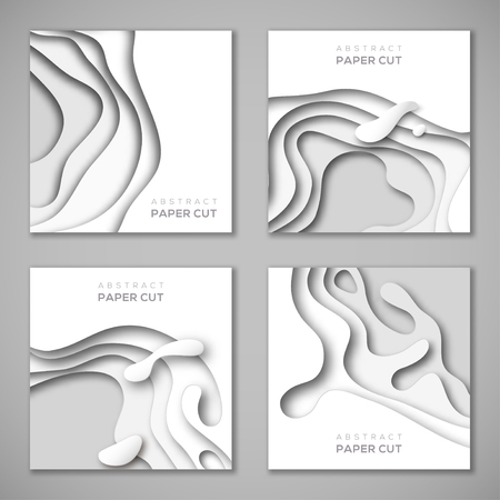 Set of square banners with white paper cut shapes