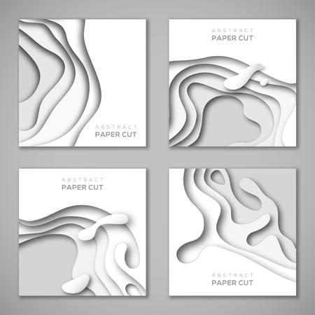 Set van vierkante banners met wit papier gesneden vormen Stock Illustratie