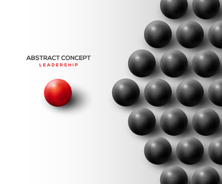 Leadership concept with separated red ball