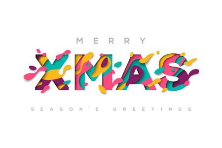 Frohe Weihnachten Typografie Standard-Bild - 81958677