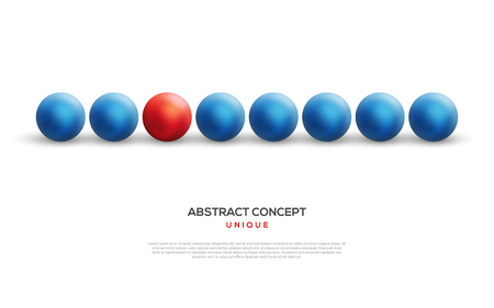 distinct: Unique red ball among blue ones
