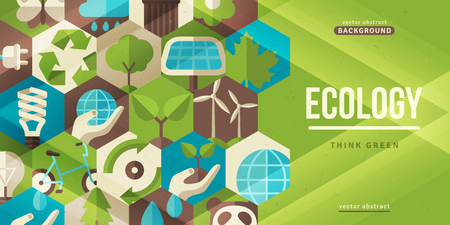 Ecology concept horizontal banner Ilustração