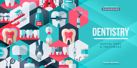 Dentistry tooth care creative banner Illustration