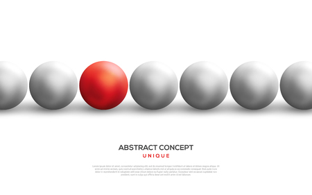 Unique red ball among white ones in row
