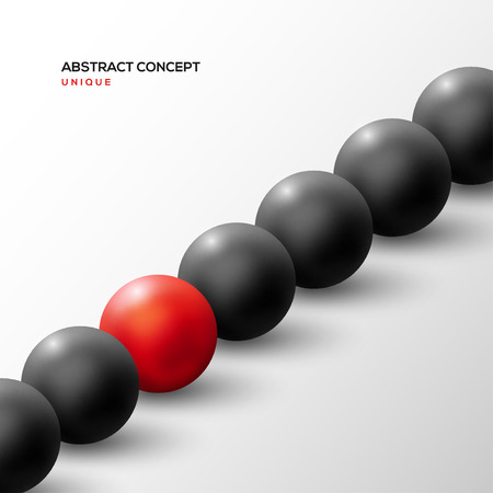 Unique red ball among black ones in diagonal row Illustration
