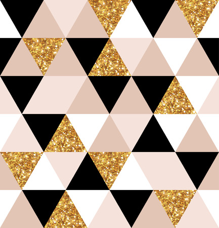 Geometry gold, black and white triangles texture. Vettoriali