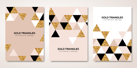 Banners set with gold decoration. Stock Illustratie