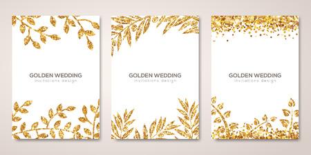 Banners conjunto con motivos florales de oro en blanco. Foto de archivo - 83652587