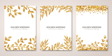 Banners set with gold floral patterns on white.