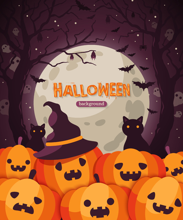 Halloween pumpkins in spooky forest.