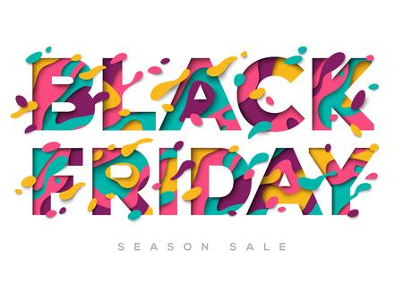 종이 잘라 셰이프와 검은 금요일 판매 포스터