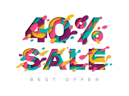 Paper cut sale 40 percent off 向量圖像