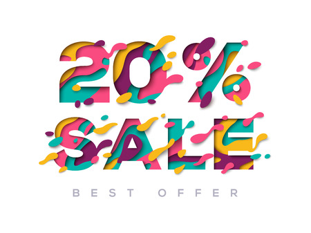 Paper cut sale 20 percent off Illustration