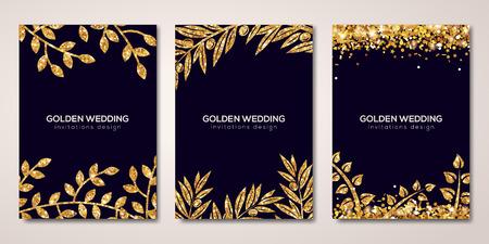 Banners con motivos florales de oro en negro Foto de archivo - 84498858