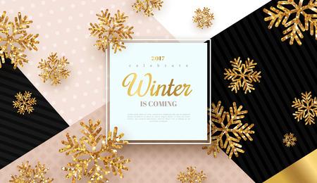 Christmas design gold snowflakes Stock Illustratie