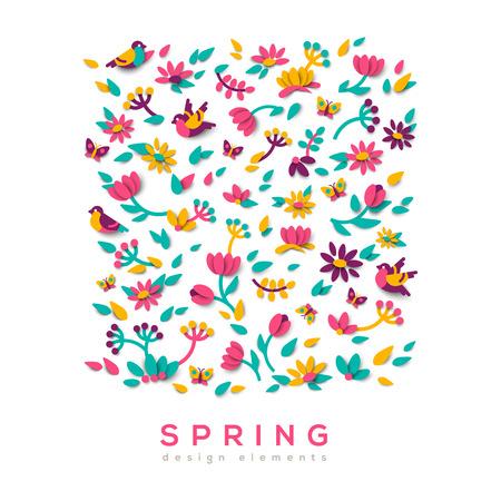 Spring cute paper cut design 向量圖像