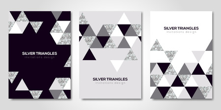 Banners set with silver geometric patterns Illustration
