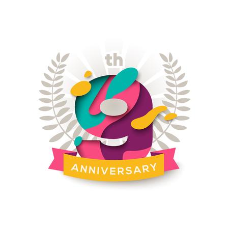 Nine years anniversary celebration background. 向量圖像