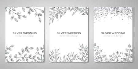 Banner mit silbernen floralen Mustern Standard-Bild - 86920758