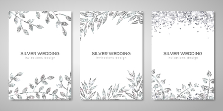 Banners set with silver floral patterns