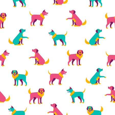 Seamless pattern with different colorful dogs Illustration