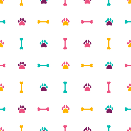 Seamless pattern with dog footprint and bones