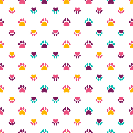 Seamless pattern with color animal footprint