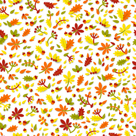 Seamless pattern with autumn cute elements.