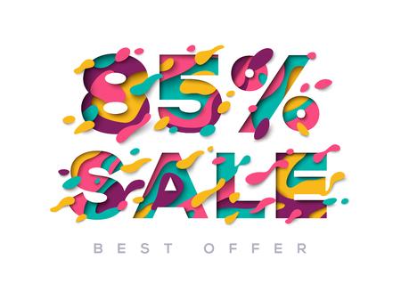 Paper cut sale 85 percent off discount vector illustration.