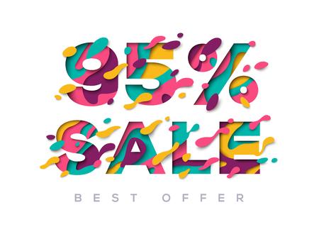 Paper cut sale 95 percent off discount vector illustration.