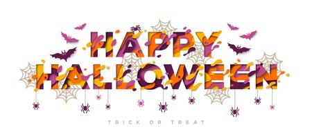 Happy Halloween typography design with spider web.