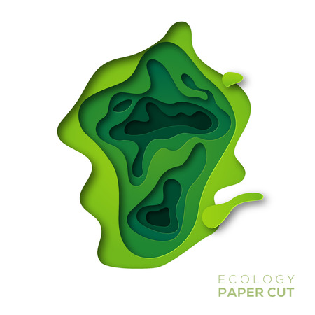 Abstract background with green paper cut shapes vector illustration.