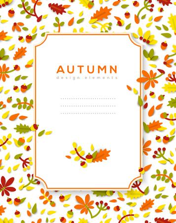 Vertical banner with autumn frame vector illustration.
