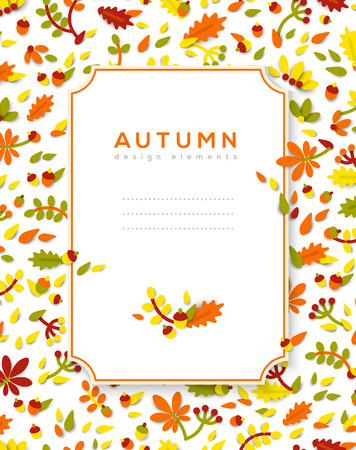 Vertical banner with autumn frame vector illustration.