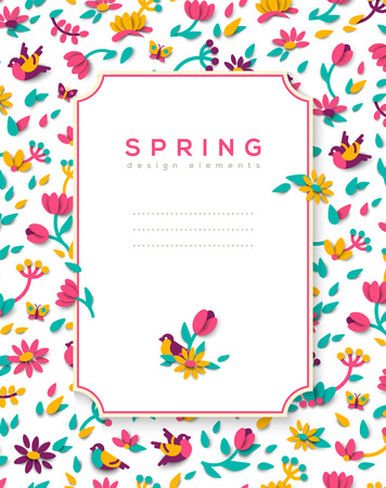Vertical banner with spring frame vector illustration. Illustration