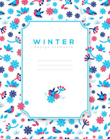 Vertical banner with winter frame. Illustration