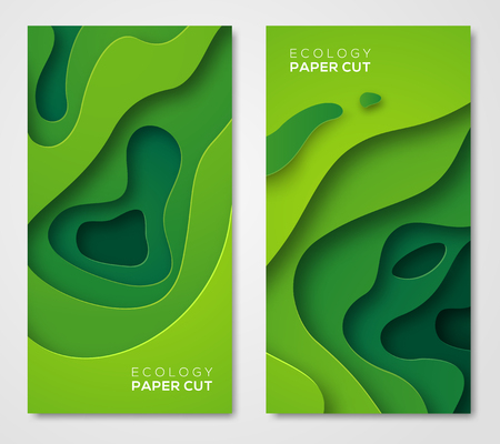 Vertical banners set, green paper cut shapes