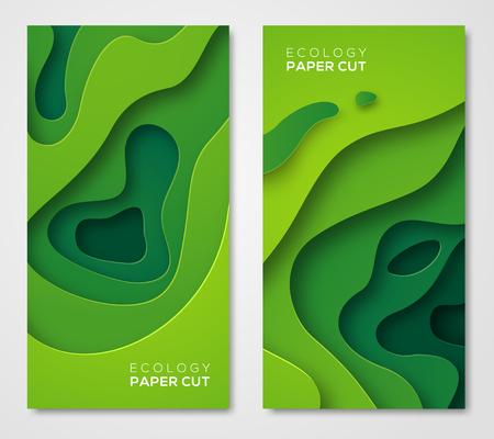 Zestaw pionowych banerów, wycięte z zielonego papieru kształty