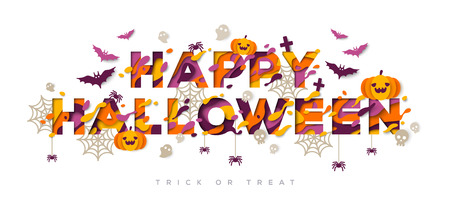 Disegno di tipografia di Halloween con le zucche